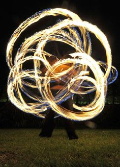 Two Fire Dancers at the 21st International Firework Competition in Hanover, Germany