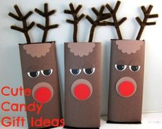 Here are some cute ways to give candy as gifts this year. To a classroom or even to co-workers! #christmas #giftideas