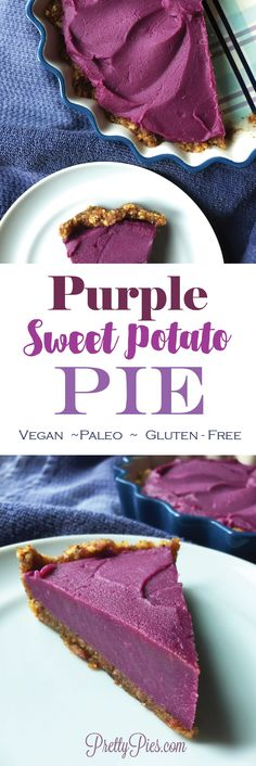 So much better than an average sweet potato pie. It's GORGEOUS and naturally colored with purple sweet potatoes! Much healthier, too NOT your average sweet potato pie. Simply GORGEOUS purple pie that's sure to wow your family on Thanksgiving ; Vegan Sweet Potato Pie, Sweet Potato Dessert, Sweet Potato Recipes, Sweet Potatoe Pie, Paleo Vegan, Vegan Pie, Vegan Baking, Vegan Sweets, Healthy Desserts