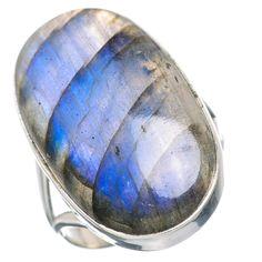 Large Labradorite 925 Sterling Silver Ring Size 9 RING721298