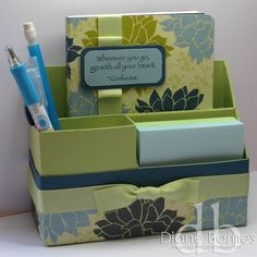 Desk Organiser Stamps: Asian Artistry Card/Paper: certainly celery, not quite navy, baja breeze card, Urban Garden DSP, purchased notebook (non SU) Ink: not quite navy Accessories: certainly celery grosgrain ribbon.  Colour  me happy: ESAD Christmas in July blog hop.