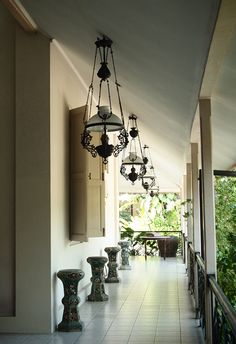 Antique lamp: A beautiful corridor inside the building with old Dutch style hanging lamps. Photo by Mary Sasmiro.