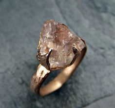 Etsy :: Your place to buy and sell all things handmade Raw Rough Morganite Rose gold Ring Gold Pink Gemstone Cocktail Ring Statement Ring Raw gemstone Jewelry byAngeline 0042 Ring Rosegold, 14k Gold Ring, Bronze Ring, Raw Gemstone Jewelry, Crystal Jewelry, Topaz Jewelry, Jewellery, Pink Gemstones, Minerals And Gemstones