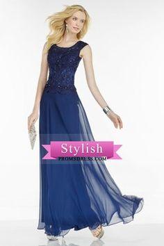 2016 Scoop Prom Dresses A Line Chiffon With Applique And Beads Floor Length Dark Royal Blue US$ 149.99 STPYH8CBC9 - stylishpromsdress.com