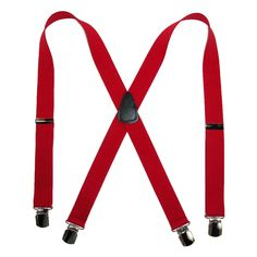 Elastic 1.5 Inch Wide Clip-End Suspenders by CTM. X-back style. Silver metal adjusters and double pin clip-ends