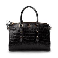 Brook Street Bag in Black Croc - Aspinal of London