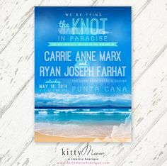 Turquoise Teal, Mint Green, Ocean Blue Watercolor - Modern Beach Destination Wedding Invitations & RSVP Postcard - DIY Invitations by KittyMeowBoutique on Etsy, $50.00