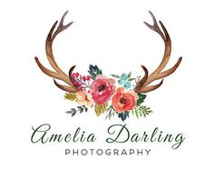 Floral Antlers Logo Design & Blog Header - Web, Blog, Marketing, Print - Limited Edition! Perfect For Photographer, Florist, Boutique