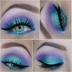 Mermaid Eyes using Makeup Revolution Mermaids Forever Palette with Koko Lashes in Ariel #womensbeauty
