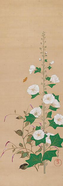 Hollyhocks Artist:Sakai Ōho (Japanese, 1808–1841) Period:Edo period (1615–1868) Date:19th century Culture:Japan Medium:Hanging scroll; ink and color on silk