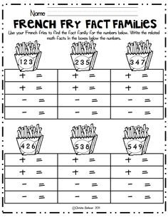 Kindergarten Multiplication Division Fact Family Worksheets Photo ...
