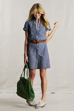 Chambray dress and sneakers