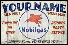 Mobil Gas Personalized Service Station Sign - only at www.garageart.com