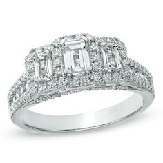 1-1/2 CT. T.W. Certified Emerald-Cut Diamond Three Stone Frame Ring in 14K White Gold (H-I/SI2-I1)