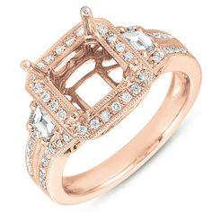 EN7142-1SQRG/sk  Rose Gold Engagement Ring      Stone count: 62 stones    Metal: 14ROS