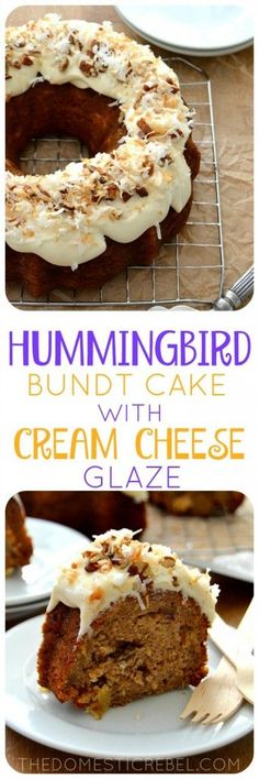This Hummingbird Bundt Cake is a Southern favorite that you can enjoy at home! A spice cake bursting with pineapple, banana and pecans is topped with a creamy homemade cream cheese glaze and toasted coconut. A perfect, EASY cake recipe for any time! Cream Cheese Glaze, Cake With Cream Cheese, Bunt Cakes, Cupcake Cakes, Cupcakes, Illustrations Pastel, Easy Cake Recipes, Dessert Recipes, Paleo Recipes
