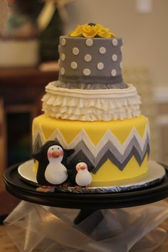 My baby shower cake my mom made for me :)  The penguins are a personal thing for the daddy-to-be.