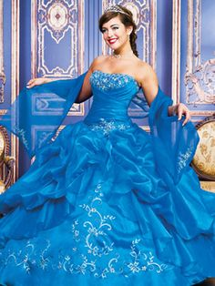 Blue Quinceanera Dresses - Ruched Bodice