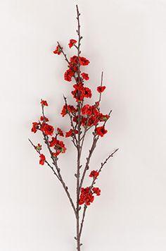 Plum Blossom Spray Red 41in