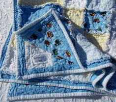 Baby Boy  Rag Quilt  Trains  Blue  Flannel Blanket by KeriQuilts, $88.00