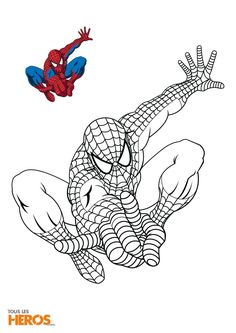 coloriage spiderman en train de sauter - Coloriage De Spiderman