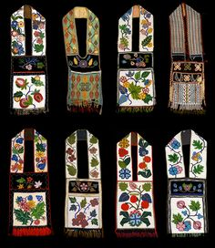 Typology of Native American bandolier bags. Native American Regalia, Native American Clothing, Native American Beadwork, Beaded Purses, Beaded Bags, Indian Beadwork, Beadwork Designs, Bead Sewing, Indigenous Art