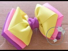 Laço Carla (Laço de fita de gorgurão) by Tatiana Karina DIY/TUTORIAL/PAP/ Ribbon Bow - YouTube