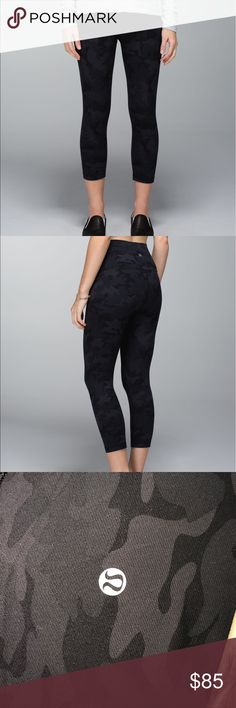 Lululemon Wunder Under Black Camo Crop Roll Down 4 This is a pair of Lululemon black camouflage cropped yoga pants. Size 4. They are the roll down Crop in denim Luon. No flaws. Mint condition. lululemon athletica Pants Leggings
