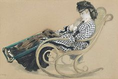 Etude for one of the shipboard paintings. Young woman in a rocking chair James Tissot