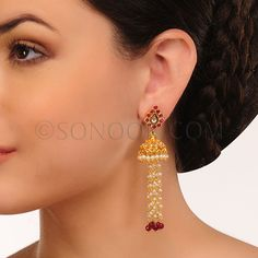 EAR/1/3437 Earrings (Jhumki) in dull gold finish studded with kundan and jade stones	 $68 £40