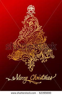 Elegant Christmas Tree Design Stock Vector 62395690 : Shutterstock