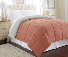 Down alternative reversible comforter Cinnamon/Grey Queen
