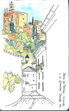 Dibujo realizado a rotuladores y acuarelas de un barrio de granada y parte de la Alhambra, me gusta como juega con los diferente tonos de color a pesar de los trazos anchos de esta técnica. Autor: Joaquin