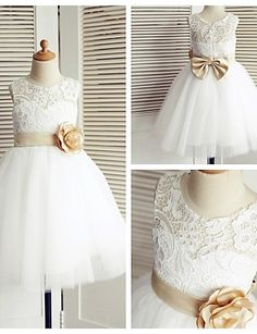 A-line Knee-length Flower Girl Dress - Lace / Tulle Sleeveless 2016 – $59.99