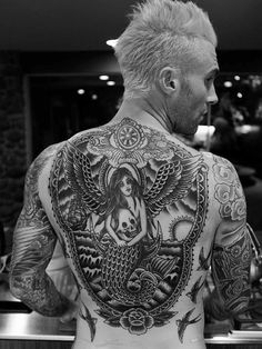 Adam Levine Debuts His Finished Back Tattoo #AdamLevine... #AdamLevine: Adam Levine Debuts His Finished Back Tattoo… #AdamLevine