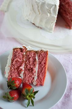 Strawberry Layer Cake with Amaretto Buttercream. We'll gladly have a slice…or two. @Bridget edwards {bake at 350}