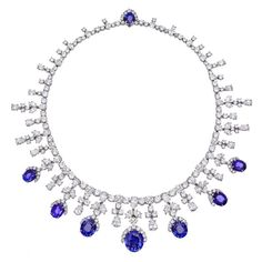 HARRY WINSTON Magnificent Diamond and Sapphire Fringe Necklace   From a unique collection of vintage drop necklaces at http://www.1stdibs.com/jewelry/necklaces/drop-necklaces/