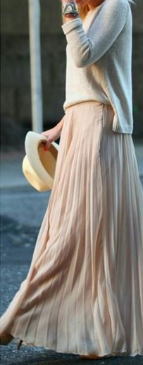 So Pretty! Love this Skirt! Nude Pleated Ankle Straight Polyester Chiffon Maxi Skirt #Pretty #Maxi #Skirt #Spring #Break #Summer #Fashion