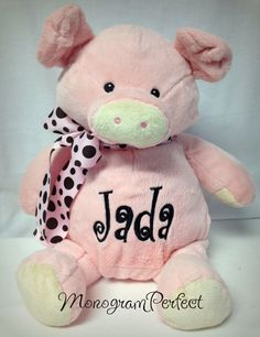 Personalized Pink Pig Stuffed Animal by MonogramPerfect on Etsy, $34.95