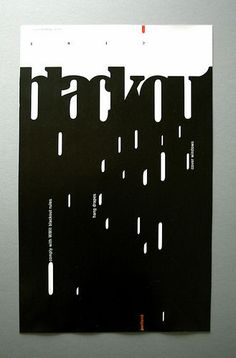 Negative space, simplicity, and visual balance are used very well in this poster. | Typo | Pinterest