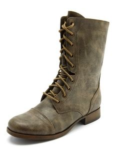 Distressed Lace-Up Combat Boot: Charlotte Russe - pair these with some distressed  denim jeans and you've got classic edgy fall look!