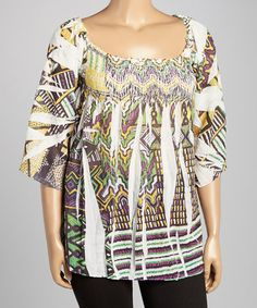 Look at this #zulilyfind! White & Yellow Geometric Shirred Top - Women & Plus by Citi Life #zulilyfinds