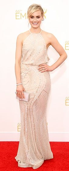 OITNB's Taylor Schilling rocked a gorgeous Zuhair Murad gown with a draped back at the 2014 Emmys.