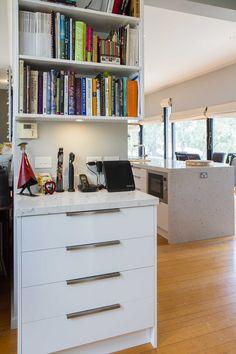 you can see project of Warrandyte suburb here. Kitchen 2016, Kitchen Office, Open Plan Kitchen, Cookbook Storage, Minimal Kitchen, Under Stairs, Wine Storage, Clean Lines, Minimalism