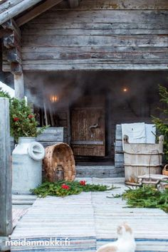 Finnish sauna and summer Outdoor Sauna, Outdoor Decor, Sauna House, Sauna Design, Finnish Sauna, Spa Rooms, Summer Kitchen, Rustic Elegance, Saunas