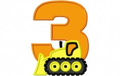 Bulldozer Third 3rd Birthday Machine Applique Embroidery Design Action Applique on Art Fire $3.00