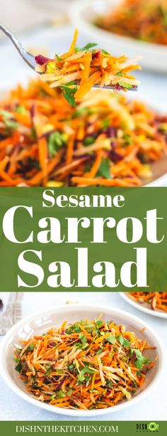 Crunchy, fresh and flavourful, this unique Carrot Salad with Sesame Maple Vinaigrette transforms a few simple ingredients into a mouthwatering side dish or starter. Side Dishes For Salmon, Side Dishes For Chicken, Dinner Side Dishes, Potato Side Dishes, Best Side Dishes, Vegetable Side Dishes, Best Salad Recipes, Lunch Recipes, Drink Recipes