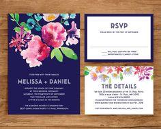 Printable Wedding Invitation Template Set | Floral Wedding Invitation | Watercolor flower | Flower | Navy and Pink | Modern