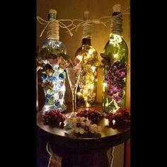 Grape vine wine bottles