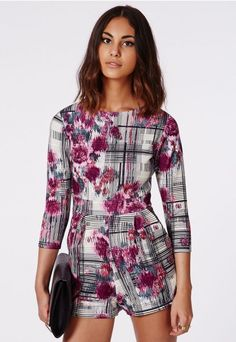 Maliyah Scuba Floral Check Playsuit - Playsuits - Missguided